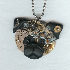 Steampunk Chinese Pug Dog Necklace Polymer Clay by Polymer Clay Creations, Polymer Clay Crafts, Polymer Clay Jewelry, Chinese Pug, Polymer Clay Steampunk, Jewelry Crafts, Jewelry Ideas, Watch Gears, Dog Necklace