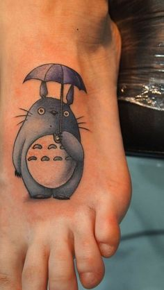Cartoon Totoro Tattoo On Foot