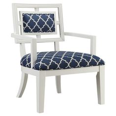 Perfect as an eye-catching addition to your living room or master suite, this stylish arm chair showcases quatrefoil trellis-print upholstery in navy and ivo...