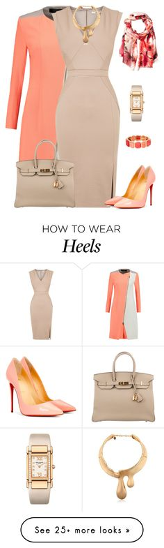 """outfit 4000"" by natalyag on Polyvore featuring Roland Mouret, Oasis, Christian Louboutin, Calvin Klein, Hermès, Monet, Patek Philippe and Schield Collection"