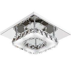 Modern crystal stainless steel LED ceiling light 12W chandelier light - white