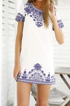 Stylish Round Neck Short Sleeve Printed Women's Dress #White #Blue #Bohemian #Fashion #Stylish #Women #Dress
