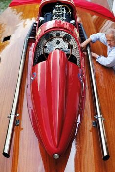 The San Marco with its actual owner; Speed Boats, Power Boats, Rib Boat, Classic Wooden Boats, Boat Projects, Vintage Boats, Boat Art, Cool Boats, Ferrari Car