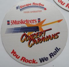 3 Musketeers Chocolate Bars 5 Concert Passes Mint You Rock We Roll 3 inch Stickers Otto From The Mighty Finwah Collection Safely Stored For Over 24 Years This Will be a great Gift for Yourself Or any Fan Shipping will be within 2 day. Chocolate Bars, You Rock, 24 Years, Musketeers, All Sale, Backstage, Great Gifts, Rolls, Fans