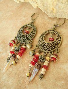 Boho Earrings Steampunk Chandelier Earrings Rustic by BohoStyleMe