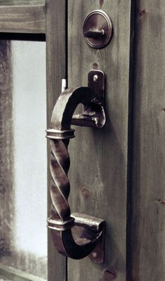 Door Pull - Design From Historic Record - Custom wrought iron door handles handcrafted by master blacksmiths at Scottsdale Art Factory - hand applied patina finish, order any size and style custom door pulls for entrance doors, interior doors, and gates