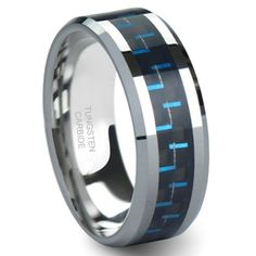 $19.99 BLUE & BLACK Carbon Fiber Inlay 8MM Men's Tungsten Carbide Ring: Jewelry
