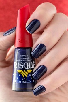 Esmalte Risqué - azul estrelado Glam Nails, Nail Manicure, Toe Nails, Nail Polish, Gorgeous Nails, Pretty Nails, Tumblr Nail Art, Hair Skin Nails, Elegant Nails