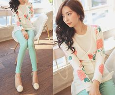 Rose sweater with mint pants.    I'm buying some pants in this colour so I need some ideas :P