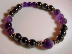 Amethyst Hematite Mala Semi Precious Stone Bracelet by CherylsHealingGems, $27.00. FREE US SHIPPING!