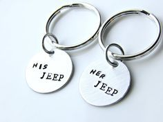 Her JEEP or His JEEP, Stamped Customize Keychain, Jeep lovers unite! on Etsy, $10.00. Ok, so, yeah, we need this