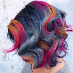is the artist. Pulp Riot is the paint. Funky Hair Colors, Vivid Hair Color, Bright Hair Colors, Hair Color And Cut, Colorful Hair, Hair Colours, Braided Crown Hairstyles, Funky Hairstyles, Oil Slick Hair Color
