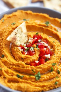 Roasted Red Pepper Hummus: it's easy to make roasted red pepper hummus at home with this quick, healthy, tasty recipe.