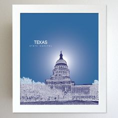Texas Skyline State Capitol Landmark - Modern Gift Decor Art Poster 8x10. $20.00, via Etsy.