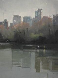 Lisa Breslow, Central Park Lake 4 2012, Oil on panel