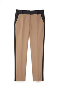 The perfect pair of black or khaki pants is an office essential. But the two colors can be even better together. These pants feature slimming, tuxedo-like side stripes and fun, contrasting waistbands. Pairing them with a crisp white button-down is a chic no-brainer; try a jewel-toned top for an unexpected twist. $88, Ann Taylor