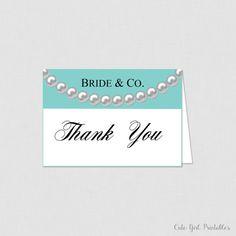 Printable Bride & Co Bridal Shower Thank You Card - Bridal Shower Thank You Card - Bride and Co Bridal Shower - Robin Egg Blue Bride 0007B
