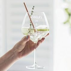 For all those serious about gin, our gin goblet would make an ideal Christmas gift. Gift ideas for her. Gin glass with personalised name Personalised Gin, Personalized Gifts For Her, Gin Goblets, Gin Und Tonic, Luxury Gifts For Women, Alcoholic Drinks, Cocktails, Gin Lovers, Friend Birthday