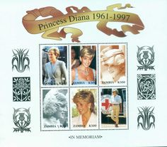 Zambia 1997 Princess Diana in Memoriam, Diana Out & About 500k MS MUH