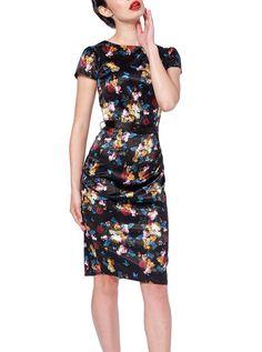 "Women's ""Old Masters Floral"" Pencil Dress by Voodoo Vixen (Black) #InkedShop #floral #dress #style #fashion"
