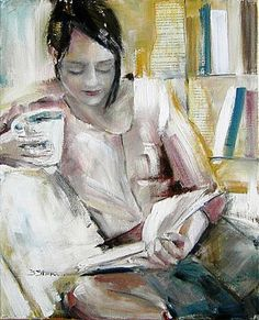 ✉ Biblio Beauties ✉ paintings of women reading letters & books - Birgit Stern Reading Art, Woman Reading, I Love Books, Good Books, Figure Painting, Painting & Drawing, Illustrations, Illustration Art, Image Avatar
