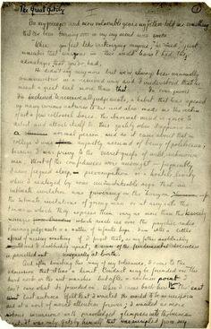 Handwritten Gatsby manuscript by F. Scott Fitzgerald