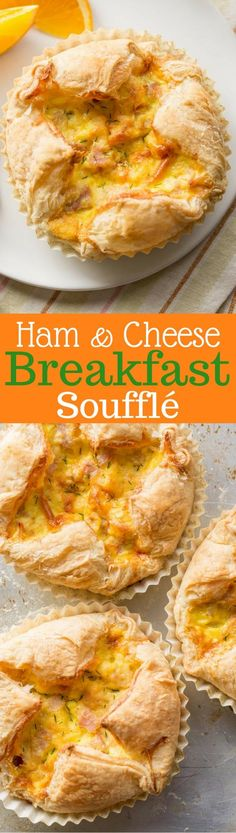 Ham & Cheese Breakfast Soufflé - an easy and delicious soufflé loaded with smoked Gouda, diced ham, eggs and salty Parmesan cheese all wrapped up in a puff pastry shell. www.savingdessert.com #savingroomfordessert #ham #hamandcheese #breakfast #souffle