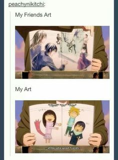 My Friends Art, My Art, funny, Yukine, drawing, book, text; Noragami