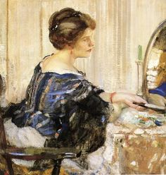 Woman in Blue Seated at a Dressing Table, 1916 - Richard Emil Miller (1875-1943) American Impressionist Painter (2)