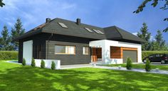 Projekt TKE-364: Nowoczesna bryła, ciekawe rozwiązania architektoniczne. Polecamy zobaczyć rzuty projektu, a szczególnie apartament gospodarzy: sypialnię, garderobę oraz łazienkę! :)