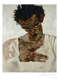 オールポスターズの エゴン・シーレ「Egon Schiele, Self-Portrait with Bent Head, Study for Eremiten (Hermits)」ジクレープリント