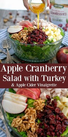 Lower Excess Fat Rooster Recipes That Basically Prime Apple Cranberry Salad With Turkey And A Healthy Apple Cider Vinaigrette Is The Prefect Fall Salad. Great As A Side Dish For Thanksgiving Or Make It Using All Of Your Turkey Leftovers Thanksgiving Salad, Thanksgiving Side Dishes, Thanksgiving Recipes, Fall Recipes, Turkey Side Dishes, Turkey Dinner Sides, Coleslaw, Apple Cranberry Salad, Cranberry Salad Recipes