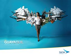 Print advertisement created by La Facultad, Ecuador for Tame Ecuador Airlines, within the category: Transport. Street Marketing, Ads Creative, Creative Advertising, Creative Ideas, Advertising Campaign, Advertising Poster, Print Ads, Poster, Guayaquil