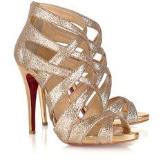 Christian Louboutin Balota 120 glitter-finish multi-strap sandals (3.670 HRK) found on Polyvore