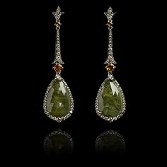 One of a Kind Green sapphire and orange garnet earrings
