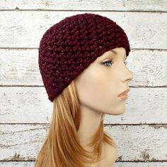 Burgundy Crochet Hat Red Womens Hat - Cabernet Red Hat Red Beanie Chunky Crochet Hat Womens Accessories Winter Hat - Ready To Ship by pixiebell on Etsy