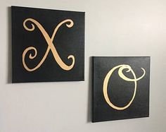 Black & Gold XO Painting, Dorm Decor, Acrylic on canvas, nursery, love, gallery wall, calligraphy, handwritten, girly decor, interior design