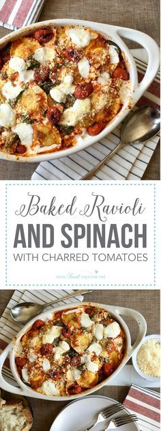 Baked Ravioli and Spinach with Charred Tomatoes -- If a one-dish meal is on the top of your list, check out this greens-packed, cheesy, pasta bake. This weeknight dinner is easy, and the whole family will love it.