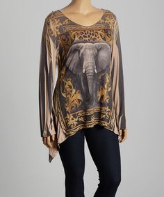 Poliana Plus Yellow & Gray Elephant Sidetail Top - Plus | zulily #streetstyle