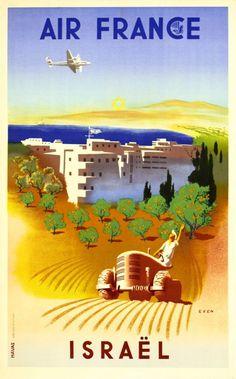 1949 Air France, Israel, vintage travel poster
