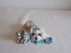 Special Easter offer.    A cute doggy and kittens ornament. by ByGoneEraEmporium on Etsy