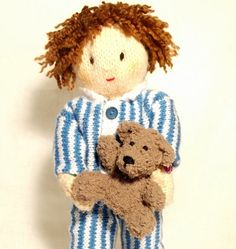 Jesse loves to snuggle his teddy bear at bedtime. You can knit Jesse, his clothes and his teddy from Claire Fairalls' 18 page knitting pattern. she includes photo tutorials to show you every stage of making up Jesse.