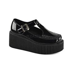Women's Demonia Creeper 214 Mary Jane Black Patent/Black (62 CHF) ❤ liked on Polyvore featuring shoes, black, closed toe shoes, high heel shoes, high heel platform shoes, t strap shoes and mary-jane shoes
