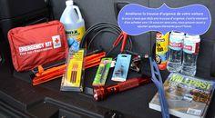 Préparez une trousse de sécurité pour l'hiver incluez une pelle, un grattoir à glace et une brosse, de l'antigel en réserve, une lampe de poche, des batteries, des couvertures, une bougie, des allumettes, le numéro de téléphone d'une entreprise locale de remorquage, du sable, des câbles d'appoint de batterie et de la nourriture. #pneustoutesconditionsmeteorologiques