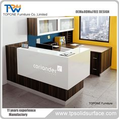 L shape small office reception counter desk manufacturer Office Counter Design, Office Interior Design, Office Interiors, Office Designs, Design Interiors, Reception Desk Design, Reception Counter, Office Reception, My Furniture