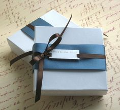 keep it simple by using solid colors of ribbon and wrap. Personalize the gift tag.