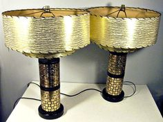 vintage table or mantle lamps - die cut brass - paper barrel shade - 1950s - set of 2