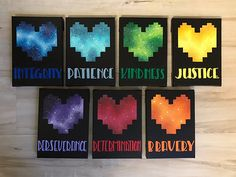 "Seven Human SOULs - Undertale-Inspired Set of 5""x7"" Paintings - Pixel Heart, 16 Bit, 8 Bit - Chara, Frisk, Determination"