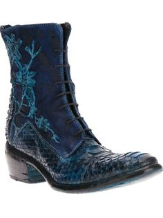 DAMY Embroidered Lace-Up Boot