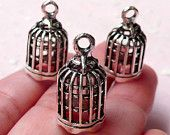 3D Bird Cage Charms (3pcs / 11mm x 22mm / Tibetan Silver) Bracelet Earring Necklace Pendant Keychain Charm Wine Charm Bookmark Charm CHM1151